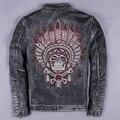 Вышивка мужской подлинной корова кожаная одежда для harley мотоциклист куртка воротник стойка slimcowhide дизайн кожаная куртка