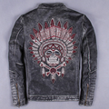 Embroidery male genuine cow leather clothing for harley motorcycle rider jacket stand collar slimcowhide design leather jacket