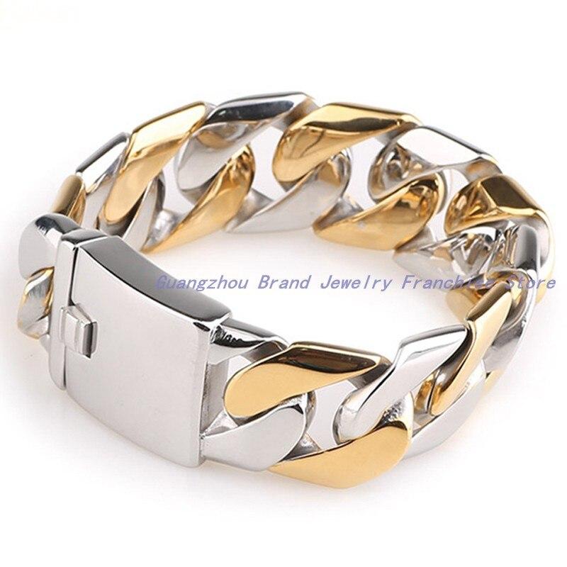 Bracelet de haute technologie entièrement poli bijoux en acier inoxydable 316L en acier inoxydable argent or pour hommes, haute qualité
