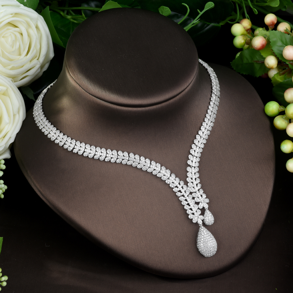 HIBRIDE moda nupcial 4 piezas damas boda conjuntos de joyería con AAA cúbico zirconia piedra accesorios de fiesta Dubai conjunto de joyería N 962-in Conjuntos de joyería from Joyería y accesorios    3