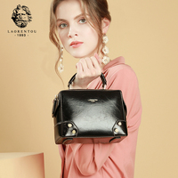 LAORENTOU Brand Female Vintage Solid Leather Messenger Bags Women Chic Classy Small Shoulder Bag & Crossbody Bag for Lady