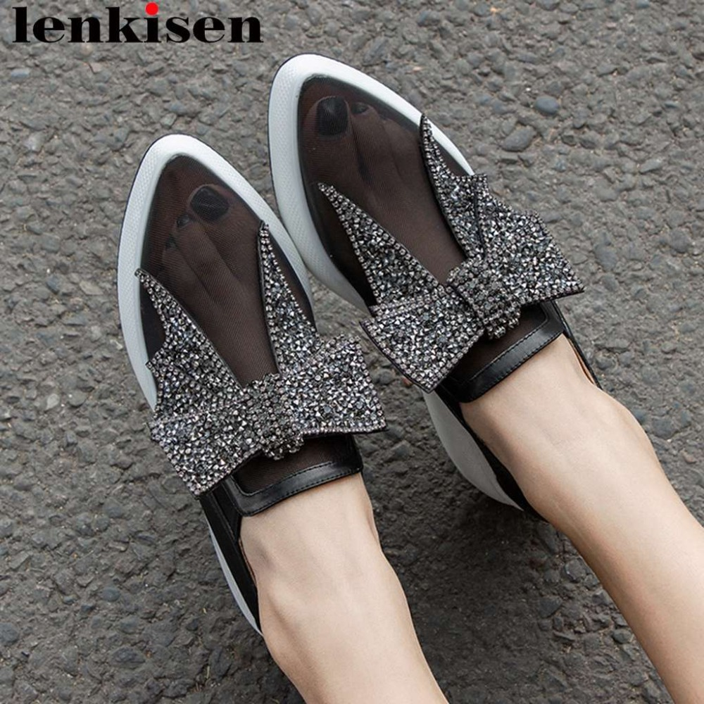 Lenksien glitter crystals decoration butterfly knot decoration slip on loafers breathable mesh dating party vulcanized shoes L01-in Women's Vulcanize Shoes from Shoes    1