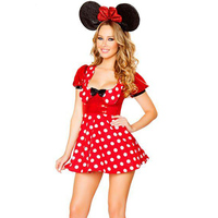 Sexy Fille Chat Costume Belle Polyester Rouge Dot Mini Robe Cosplay Costume Halloween Femmes W329324