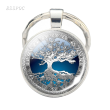 Fashion Artistic Tree of Life Keychain Cabochon Glass Jewelry Pendant Handmade Gifts for Women