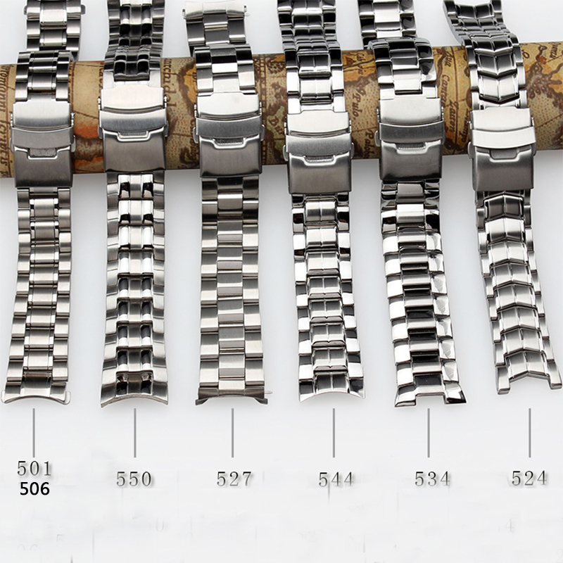 Waterproof Bracelet 22mm New Top Quality Stainless Steel Watchband  Folding Buckle For EF-550 BEM501 EF527 EF540 EF534+Free Tool