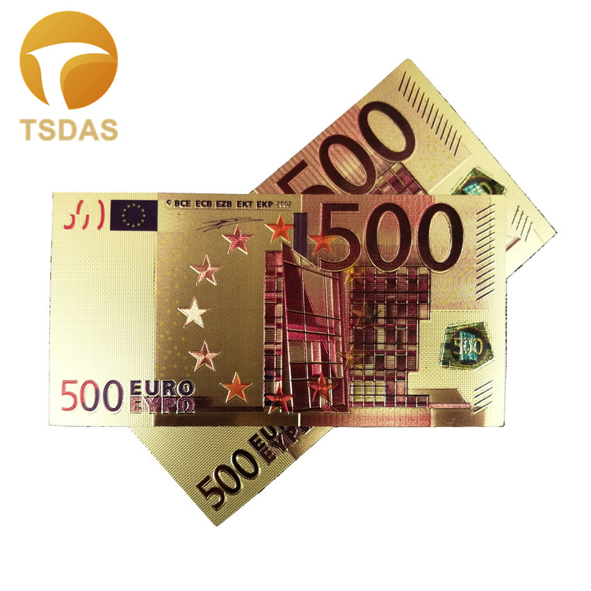 24k Gold Banknotes 500 Euro Gold Foil Collectible Souvenir Banknotes Gift Drop Shipping