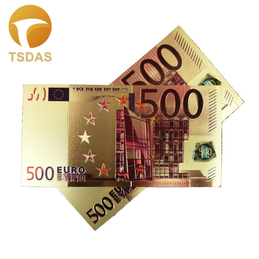 24k Gold Banknotes 500 Euro Gold Foil Collectible Souvenir Banknotes Gift Drop Shipping
