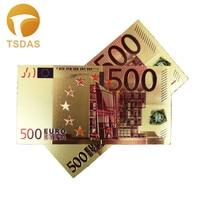 24k notas de ouro 500 euro folha de ouro collectible lembrança notas presente transporte da gota|Notas de ouro|Casa e Jardim -