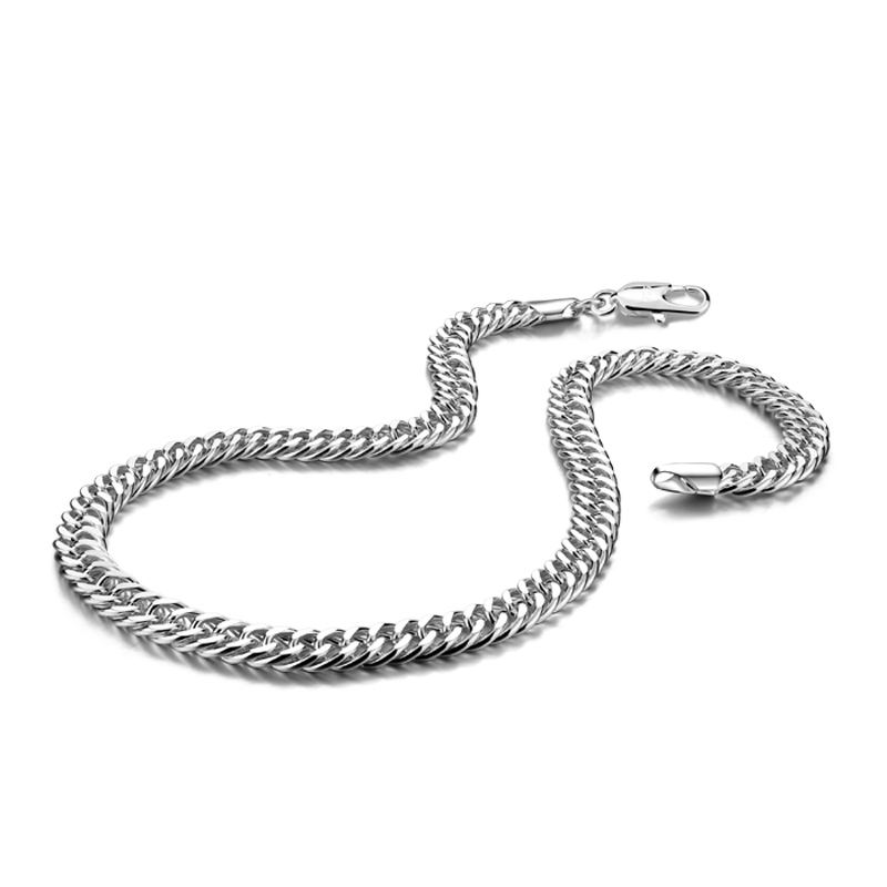 New fashion sterling silver men's necklace. 100% solid 925 silver 7MM 51cm whip chain necklace punk style men's jewelry pendant fashion cool punk style pendant necklace brown virgo theme