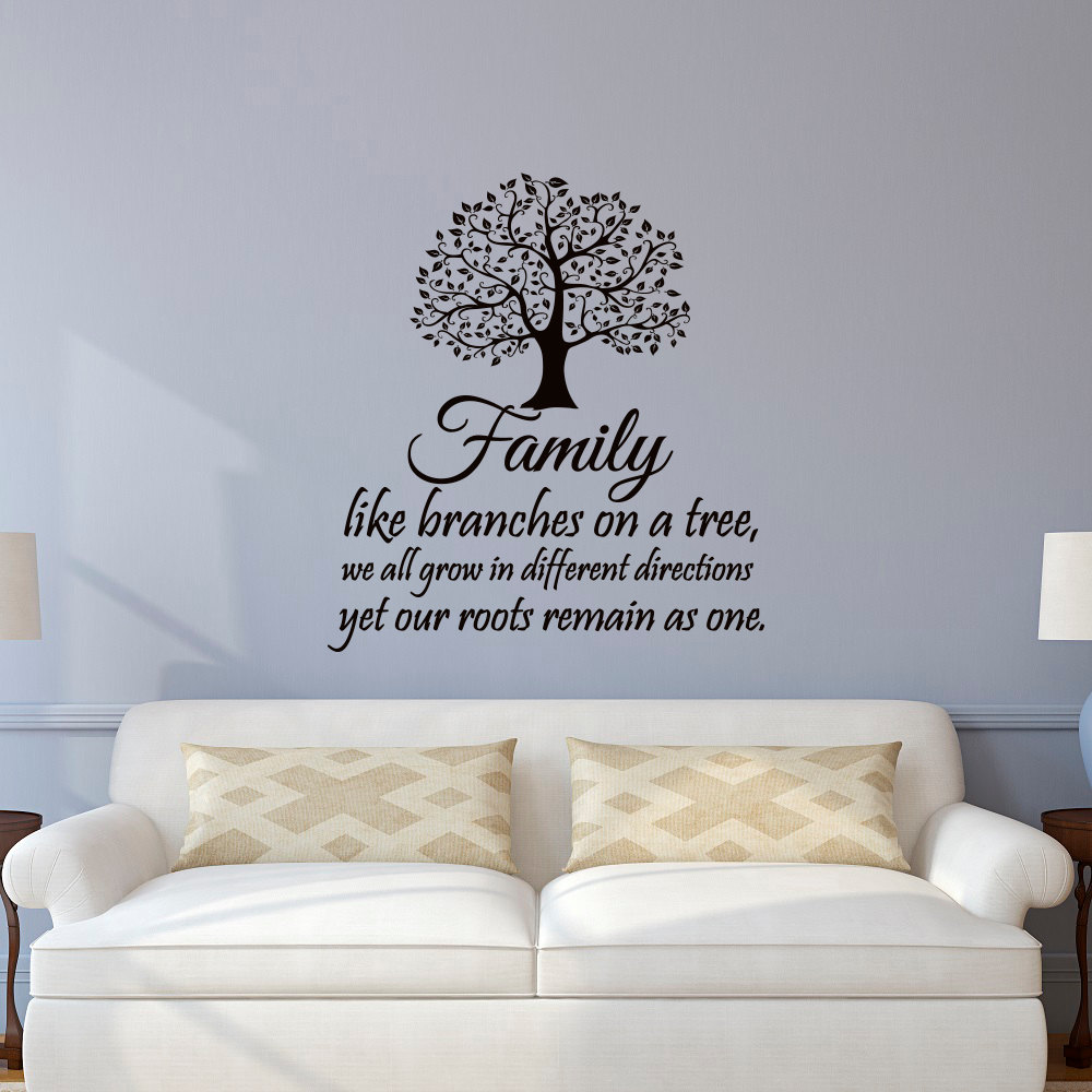 US $8.98 25% OFF|Family Wall Decal Quotes Family Like Branches On A Tree  Inspirational Quote Wall Decals Vinyl Lettering Wall Art Stickers JW100-in  ...