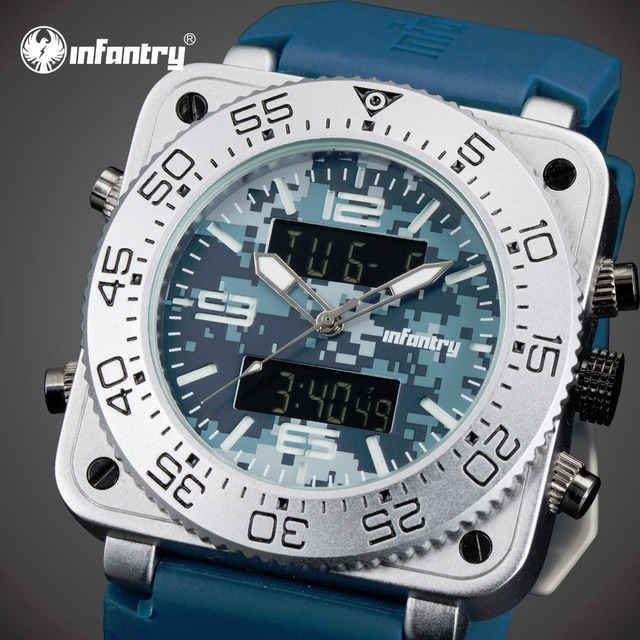 INFANTRY Watch New Arrival Luxury Mens Square Face Quartz Watches Waterproof Luminous Rubber Wristwatch Aviator Sports Watches