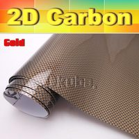 WHOLESALE Free Shipping Glossy Gold 2D Carbon Fiber Car Cover Sticker Vinyl Film