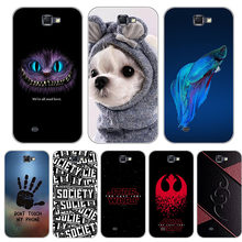 Cute Soft Silicone Cartoon Case For Samsung Galaxy Note 2 II Note2 N7100 Cover Printing Drawing Cat Printed Phone Capa Funda(China)