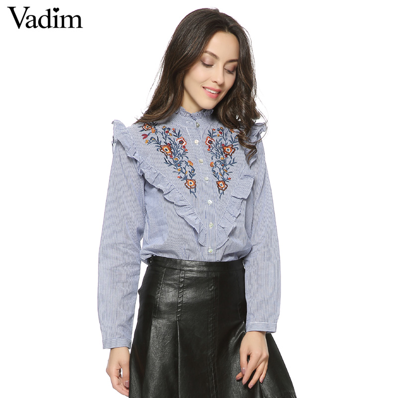 Women vintage floral embroidery cotton ruffled neck striped shirts elegant ruffles long sleeve ladies casual tops blusas LT1354