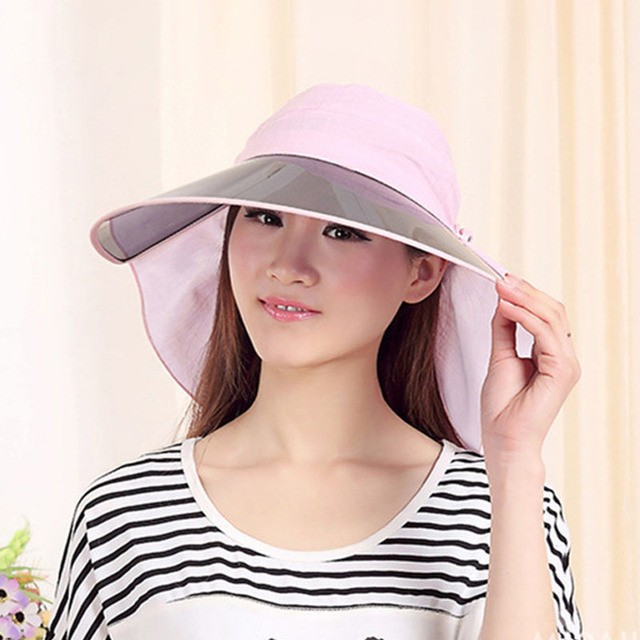8681bd4a796 Female UV Sunshade Hats Foldable Cap Beach Riding Sun Ladies Sun Hats  Summer Cotton Sun Hat