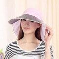 UV Sombrilla Sombreros Riding gafas de Sol Plegable Casquillo de la Playa femenina Sol de Las Señoras Algodón sombreros de Verano Sombrero para el Sol Visera de Las Mujeres De Ala Ancha