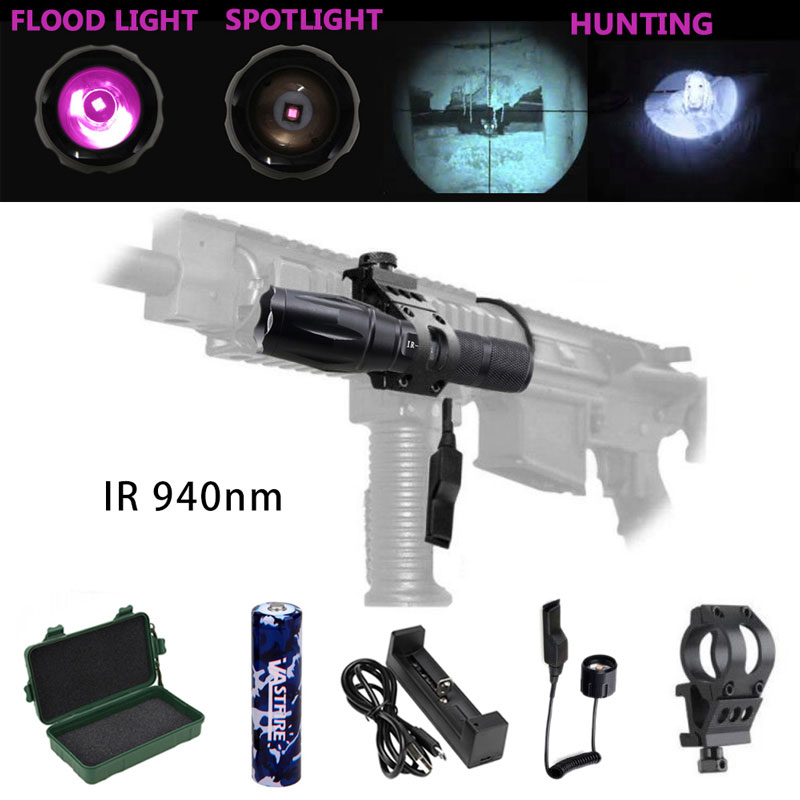 IR 940 Nm Zoomable LED Hunting Light Night Vision Infrared Radiation Flashlight+Mount+18650 Battery+Pressure Switch+usb Charger