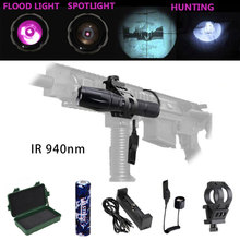 IR 940 nm Zoomable LED Hunting Light Night Vision Infrared Radiation flashlight+Mount+18650 Battery+Pressure Switch+usb charger uniquefire 1508 osram infrared 940nm led flashlight 38mm convex lens night vision zoomable torch 3 mode remote pressure switch