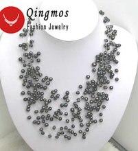 Qingmos натуральный черный жемчуг ожерелье для женщин с 6 7