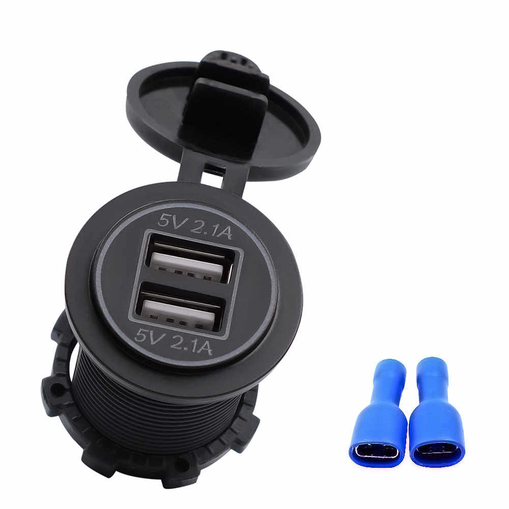 Dual USB car charger with aperture for 5V 2.1A charger socket adapter power socket for 12V 24V car motorcycle White  Orange