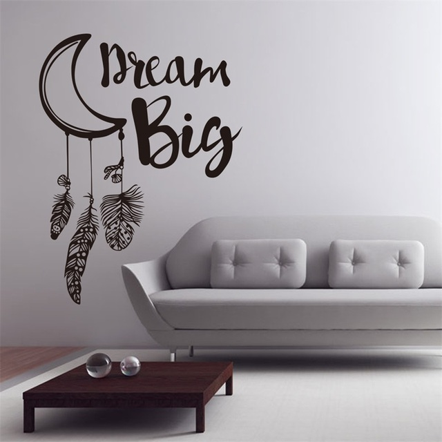 dream big quote feather wall decal dream catcher vinyl feathers