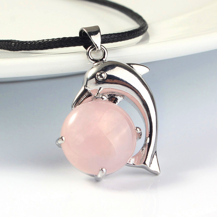 FYJS Unique Female Anniversary Jewelry Silver Plated Lovely Dolphin Natural Rose Pink Quartz Pendant Rope Chain Necklace in Pendant Necklaces from Jewelry Accessories