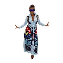 07ff810e13884f S-XXXL vrouwen nieuwe 3D vlinder gedrukt lange mouwen turn-down hals hoge  taille fit flare lange maxi jurk casual vestidos GLD82.