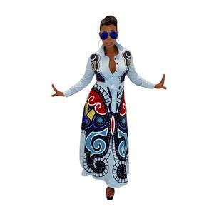 S-XXXL women new 3D butterfly printed long sleeve turn-down neck high waist fit flare long maxi dress casual vestidos GLD8239