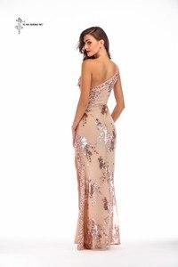 Image 3 - Robe longue sexy à paillettes pour adultes, à bretelles dénudées, robe longue fendue, bretelles dénudées, longue danse, salle de bal, queue de poisson