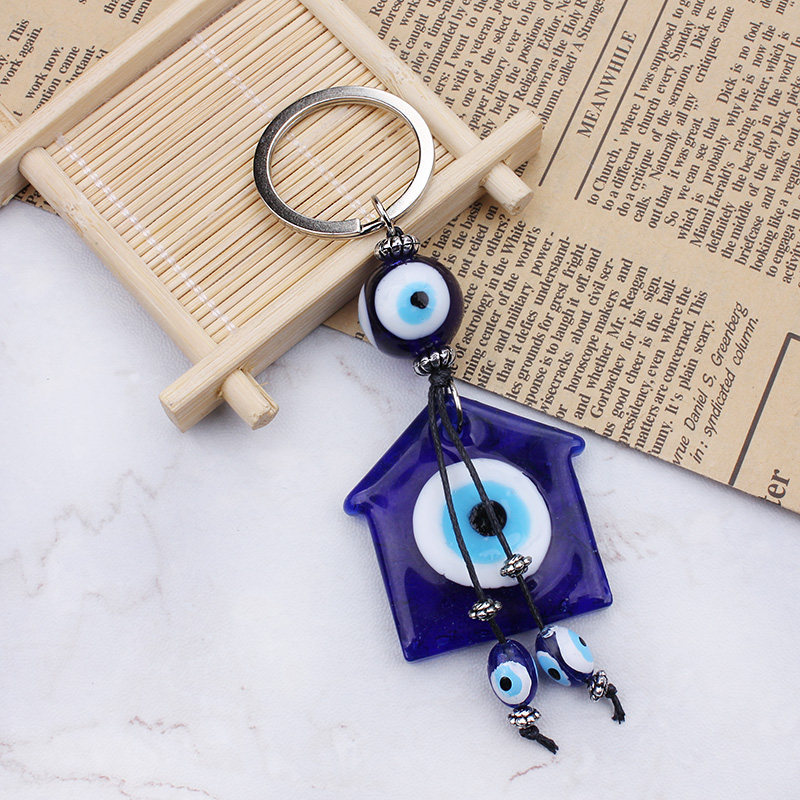 Blå Evil Eye House Lucky Charm Glass Tassel Hanger Nøkkelring for Girls Gifts