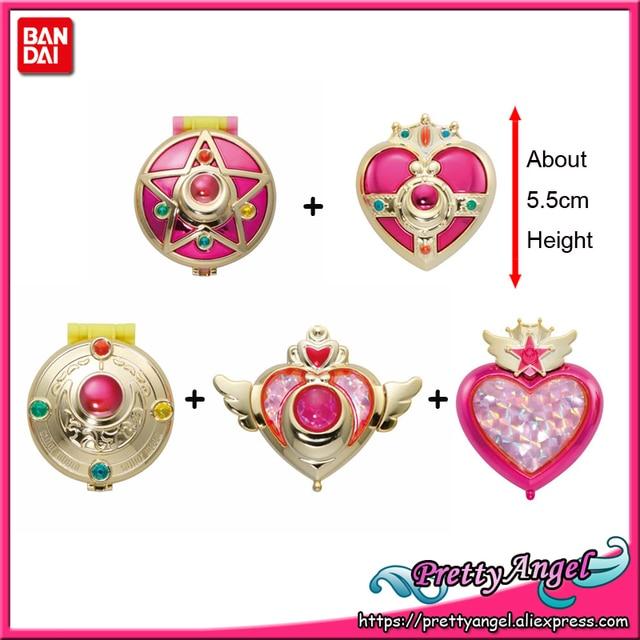 PrettyAngel Bandai Sailor Moon 20 주년 기념 가샤 폰 브로치 콤팩트 미러 세트