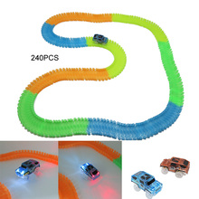 56PCS 240Pieces Race track car LED lighting Diecast DIY Puzzle Toy Rail Track Electronics Toy for