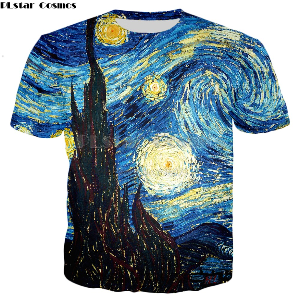 PLstar Cosmos Harajuku style   t  -  shirt   Men/Women Vincent van Gogh oil painting Starry Night Print 3d   t     shirt   Casual tee tops