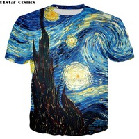 PLstar Cosmos Harajuku style   t  -  shirt   Men/Women Vincent van Gogh oil painting Starry Night Print 3d   t     shirt   Casual tee tops