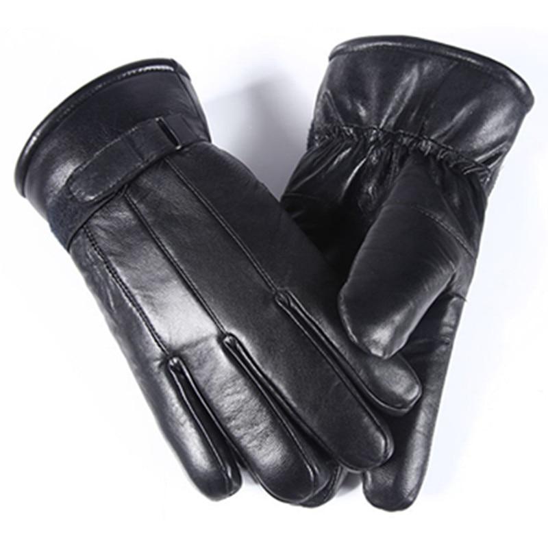 2017 inverno migliori uomini del venditore guanti di pelle di pecora guanti in pelle guanti invernali all'aperto uomini di pelliccia caldo caldo cuciture nere