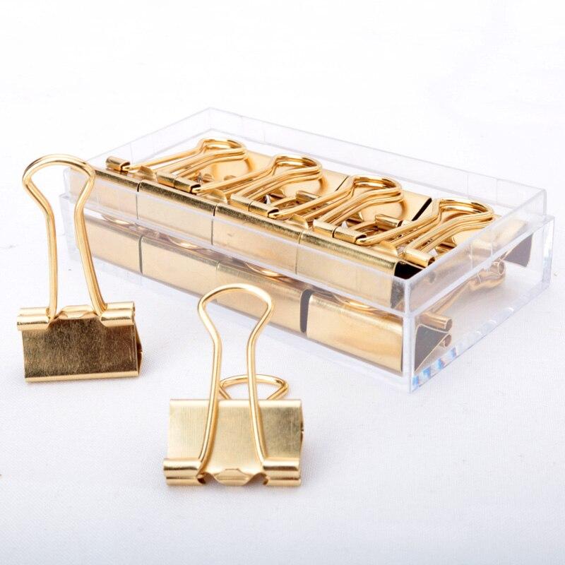Clips de carpeta de oro, clip de metal de 19mm, productos de almacenamiento, clip de carpeta de metal befriend