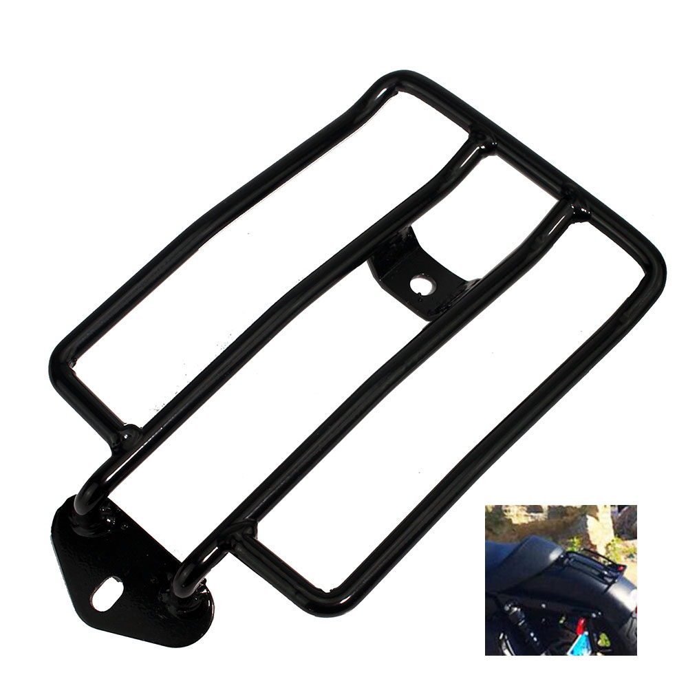 Black Rear Plated Luggage Rack Support Shelf Solo Seat Fits For Harley Davidson Sportster 883N 1200 XL 2004-2015