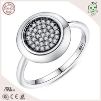 Hot Sale Top Quality Classic Logo CZ Paving Round Design 925 Sterling Silver Lady Party Rings