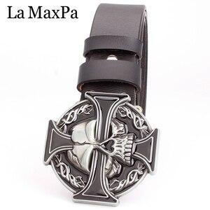 Image 2 - Man skull belt Punk style men belt buckle skull head silver skull Cross skeleton pattern mens genuine leather belt gift for man