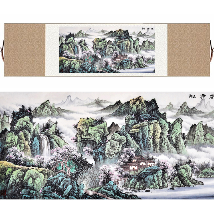 Chinese Silk watercolor Peach Blossom Spring Mountain Landscape Feng Shui canvas wall picture damask framed scroll painting gift