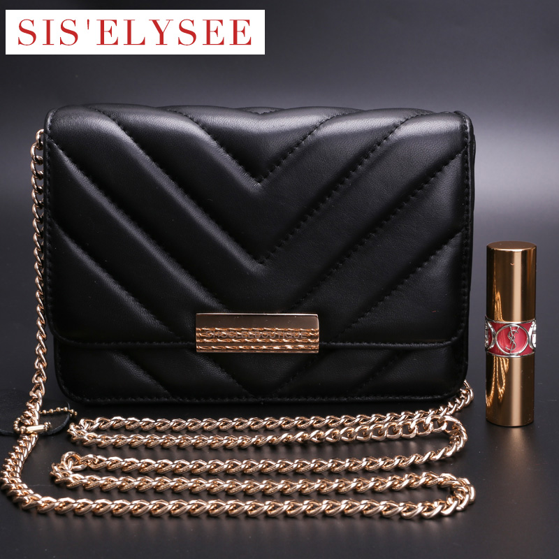 ФОТО Fashion Flap Bag Black Genuine Leather Handbags for Women Embossed Chain Solid Small Shoulder Bags Cell Phone Pocket