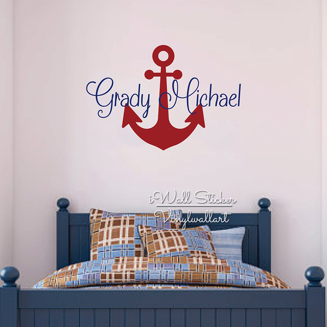 Custom Name Wall Sticker Kids Room Baby Nursery Anchor Name Wall - Custom cut vinyl wall decals