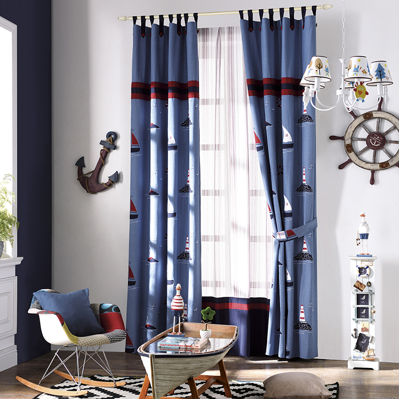 Cartoon Sailing Ship Design Shading Curtain Blackout