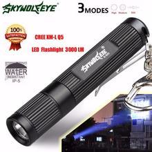 2017 מיני 3000LM Zoomable CREE Q5 LED פנס 3 מצב לפיד סופר מואר אור מנורת 718