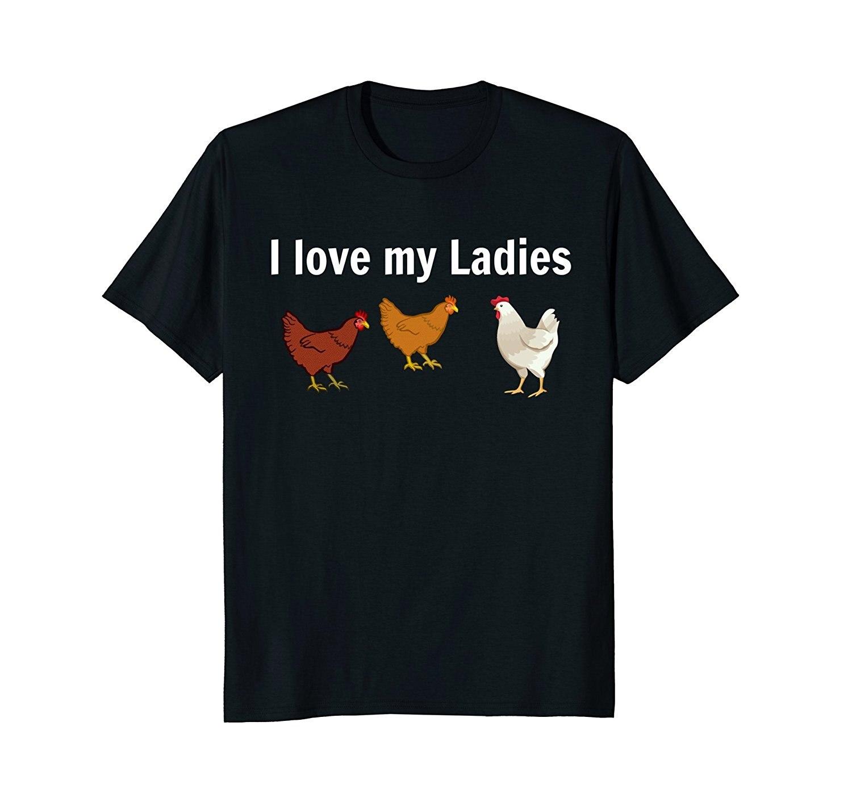 Цыпленок Забавный футболка, курица фермеров, Я люблю свою Дамы шею Best продажа мужской  ...