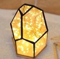LED Polygonal Fire Tree Silver Flower Table Lamp With USB , And Bedroom Decorative Night Light