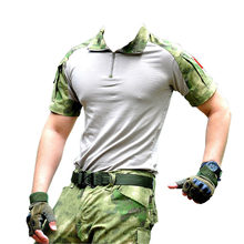 New Summer Camouflage T-shirt Men Cotton Army Tactical Combat T-shirt Military Sport Camo CP ACU Camp Short Sleeve()