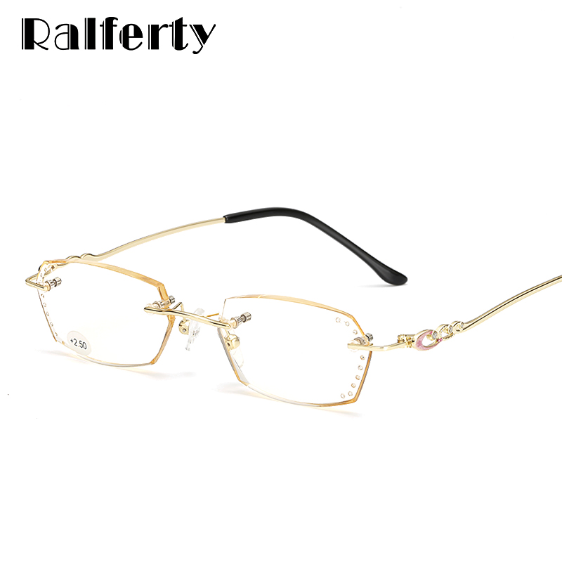 55eed7bbe7 Ralferty High Quality Luxury Women Rimless Reading Glasses For Sight Gold  Crystal Degree Eyewear Accessories Eyeglass