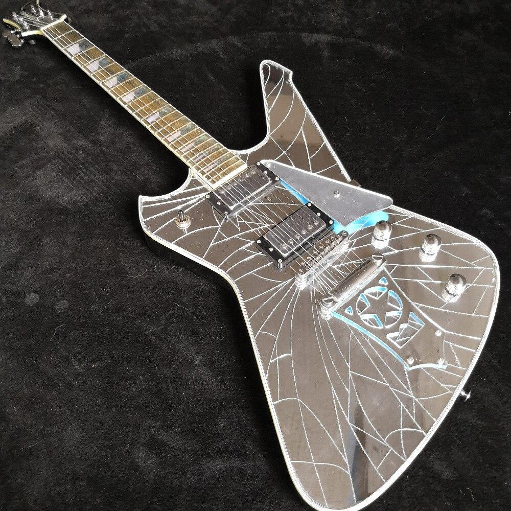 Guitarra Eléctrica bosque viento nueva llegada espejo grietas paul stanley Guitarra eléctrica 6 cuerdas China calidad superior Alien Guitarra
