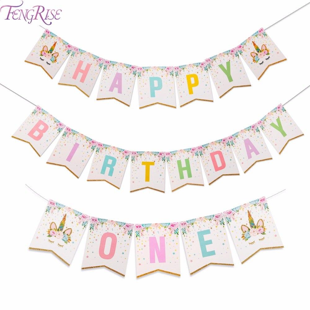 FENGRISE Glitter Unicorn Garland Happy Birthday Banner I AM ONE Bunting Baby 1st Birthday Banner Unicorn Birthday Party Decor